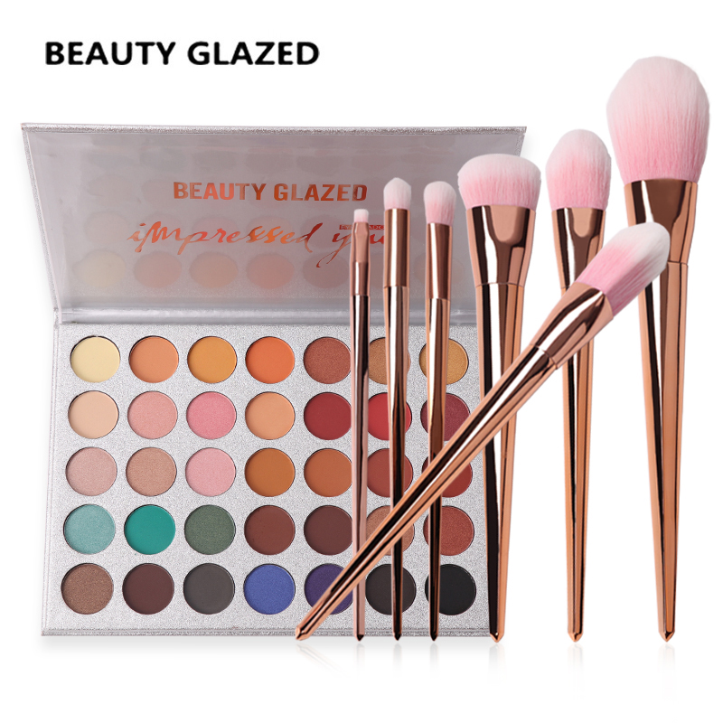 BEAUTY GLAZED Brand Natural Matte Shimmer Natural 35 color Eyeshadow Palette With Rose Gold 7 Pcs Makeup Brushes Makeup Set