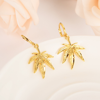 gold color drop hemp earring Women Party Gift Cannabiss Weed Marijuan Leaf charms women girls party Jewelry gift diy charms