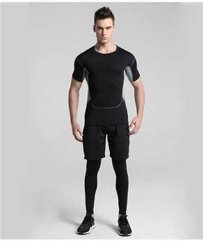 2019 Quick แห้งผู้ชายชุด 3/4/5 ชิ้น/เซ็ตการบีบอัดชุดกีฬาบาสเกตบอล Tights เสื้อผ้าออกกำลังกายวิ่งออกกำลังกายกีฬา
