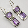 Silver NATURAL AMETHYST MADE IN INDIA LARGE Earrings 1 1/8 inches