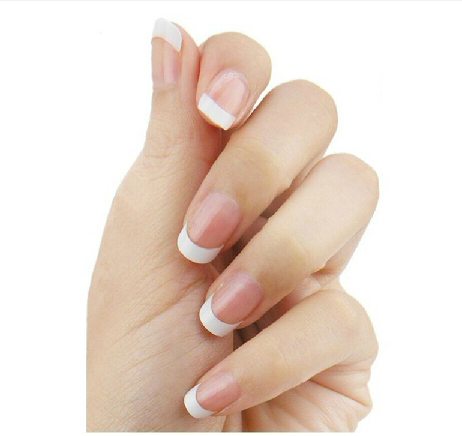 100PCS 10 Size Acrylic 3D Short Fashion White French False Nail Art ...