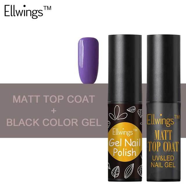 Ellwings Matt Top Coat Gel Nail Purple Black Color Gel Top Coat