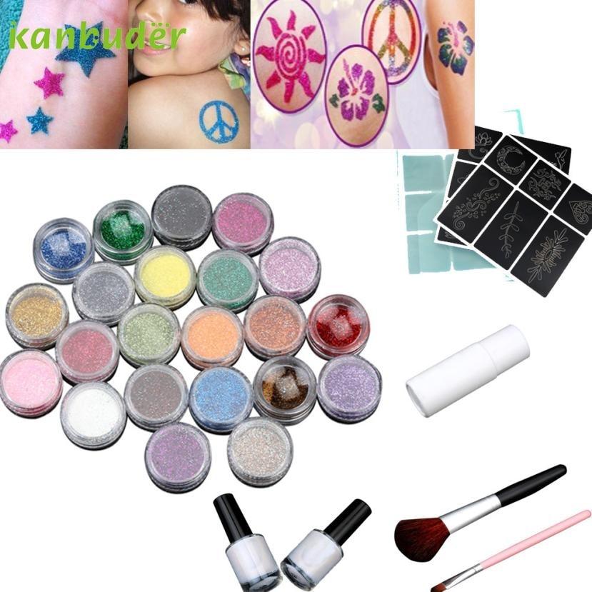 24 Colors Body Art Design Powder KANBUDER Temporary Shimmer Glitter Tattoo Kit dropshipping ophir 12 colors powder temporary shimmer glitter tattoo kit for body art design paint with stencil glue