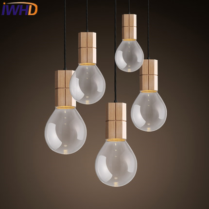IWHD Nordic Style Glass Modern Pendant Lights Light LED Simple Wood Hanging Lamp Home Lighting Fixtures Kitchen Bar Luminaires