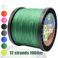 PE 12 Strands Weaves 1000m Super Strong Braided Fishing Line 8 Colors Braid PE Wire Carp Fishing Line