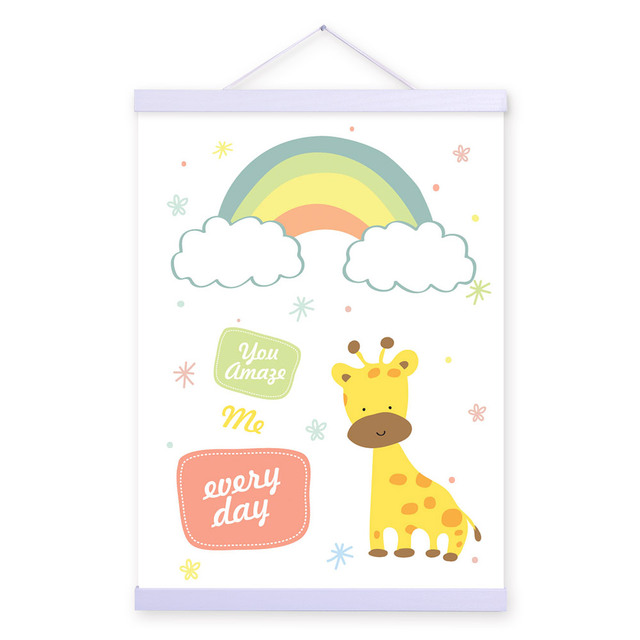 Kawaii Cute Animal Quotes Posters Print Nordic Style Kids Room Decor Star Wall Art Pictures Scroll