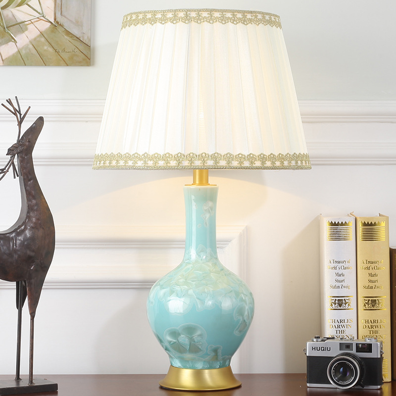 Туда 35X58 см Бесплатная доставка китайский Стиль Керамика настольная лампа глазури синий вазу Настольная лампа для Гостиная светодиодный на...