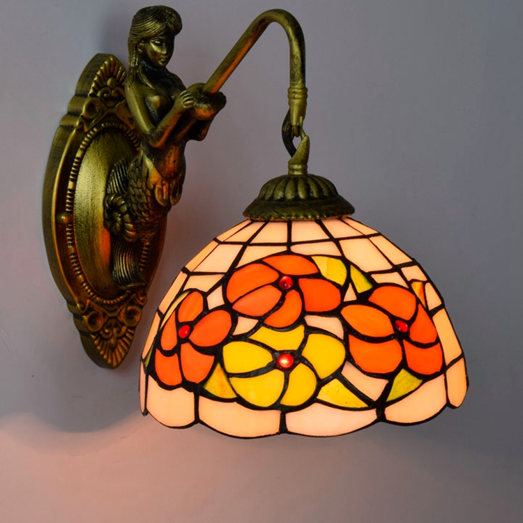 European pastoral personality Tiffany stained glass lam Hotel corridor Restaurant peony Balcony lobby Mirror front lamp 110-240V originality stained glass garden flower desk lamp american pastoral countryside hotel barbedside led lamp 110 240v dia 20cm