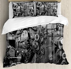 Industrial Duvet Cover Set Modern Times Detail of Rusted Machine in Factory Physical Equipment Process Bedding Set