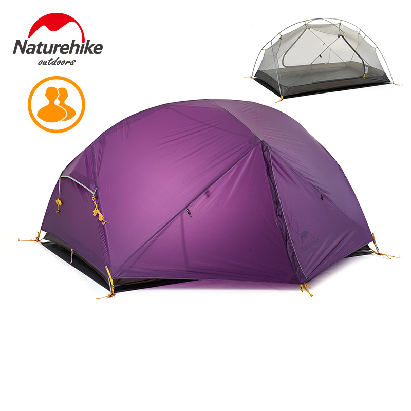 Naturehike 3 Season Camping Tent 20D Nylon Fabric Double Layer Waterproof Tent for 2 Persons for camping garden fishing high quality outdoor 2 person camping tent double layer aluminum rod ultralight tent with snow skirt oneroad windsnow 2 plus