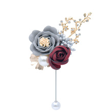 Kyunovia Man Suit Brooch Women Hand Wedding Flower Party Decoration Silk Rose Flower  Groom Boutonniere Bride Wrist Corsage D116
