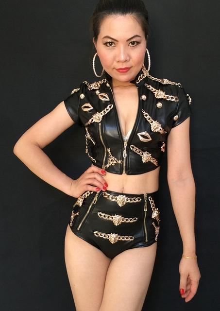 2016 Nueva cabeza de León de La Moda Femenina de Cuero Tops cortos twinset trajes Discoteca bailarín del cantante stage show wear