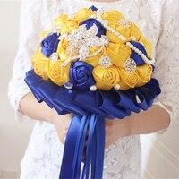 Date jaune et royal de mariage bouquet de mariée demoiselle d'honneur bouquet pour la décoration de mariage