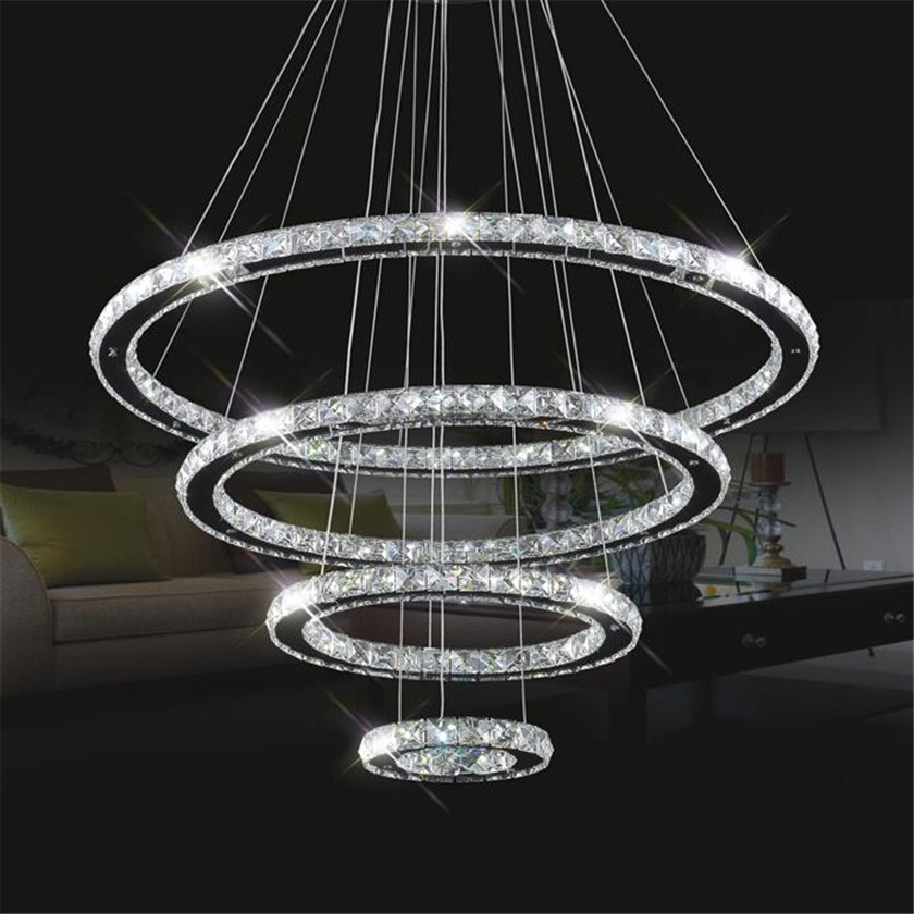 Rings LED Pendant Lights Lampara Colgante With Mirror Stainless Steel Luminaire Round Light Fixtures For Lustre de Cristal Teto