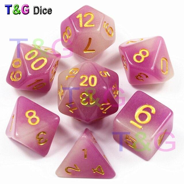 Mix-cor Dice 7 pc/set T & G Brilham No Escuro, cor roxa Resina Dice D4 D6 D8 D10 D10 % D12 D20 com Saco para DND RPG Jogo de Tabuleiro