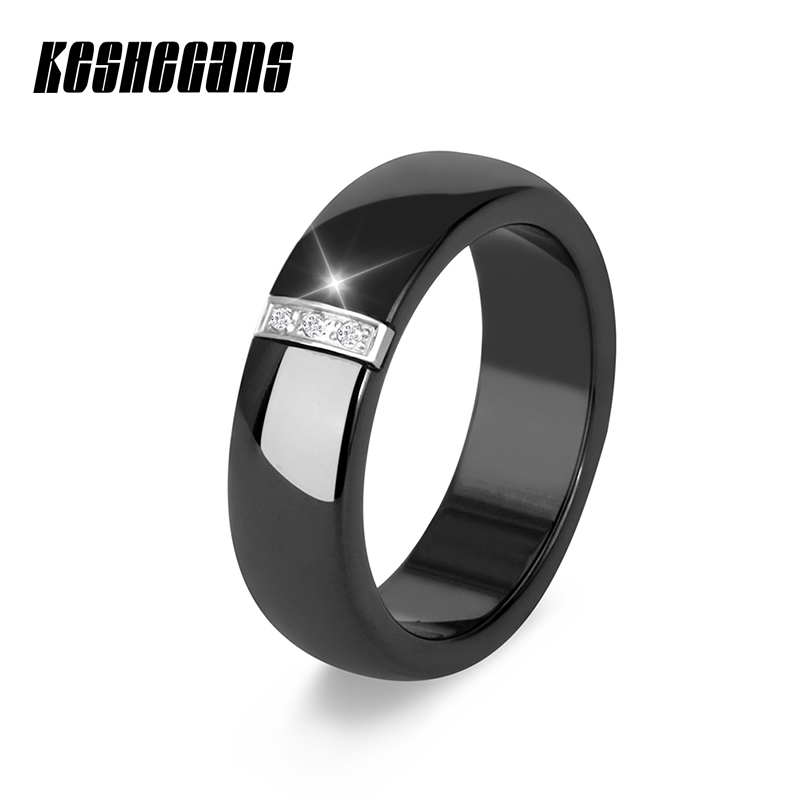 New Classic Black White Ceramic Ring Simple Style Crystal Wedding Rings For Women Beautiful Anniversary Present Fashion Jewelry