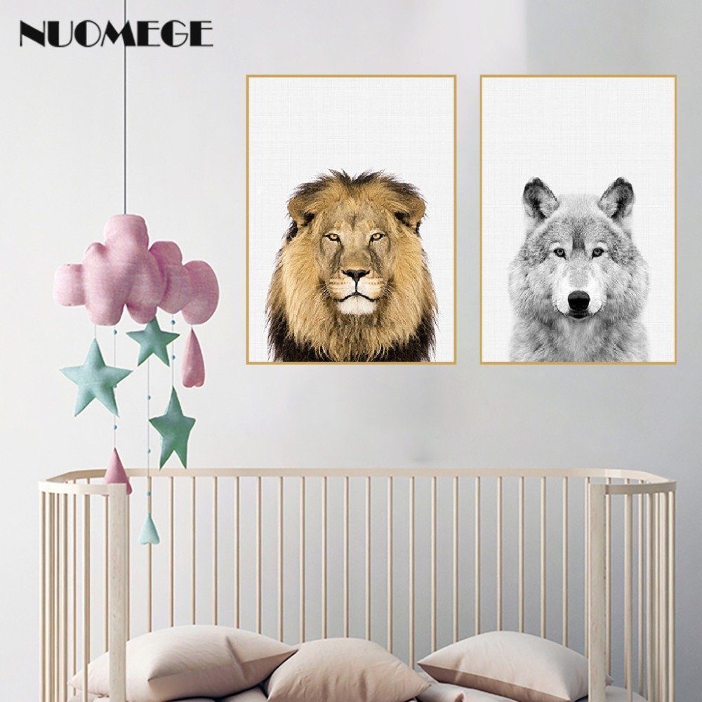 HTB1DSh XdfvK1RjSszhq6AcGFXaP NUOMEGE Baby Animal Poster Panda Giraffe Elephant Canvas Painting Nursery Wall Art Nordic Picture Kid's Bedroom Decoration