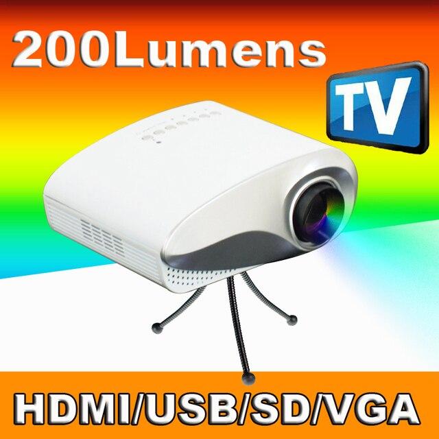 Freeshipping Дешевый 200 Люмен Контрастность 1000:1 карманный цифровой мини СВЕТОДИОДНЫЙ ЖК-ТЕЛЕВИЗОР мультимедийный проектор projektor бимер HDMI USB