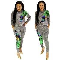 2018 Women New Fashion Clothing Set Sweatshirt Pants 2 Piece Tracksuits Sequin Phoenix Pattern Unique Sportwear