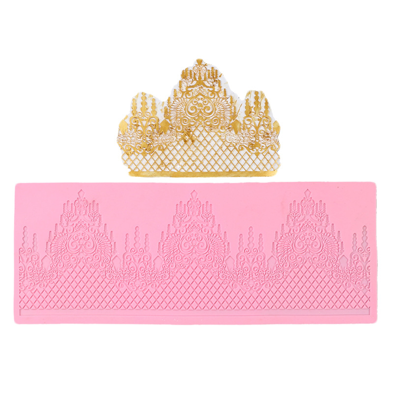 Image 2 - Aomily Lace Jewellery Wedding Cake Silicone Beautiful Lace Fondant Mold Mousse Sugar Craft Icing Mat Pad Pastry Baking Pad Tool-in Cake Molds from Home & Garden