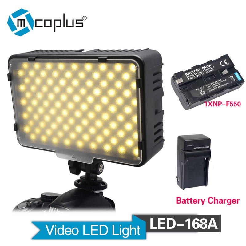Mcoplus LED-168A LED Video Light with 1x NP-F550 Battery & Charger for Canon Nikon Sony & DV Camera Camcorder np f960 f970 6600mah battery for np f930 f950 f330 f550 f570 f750 f770 sony camera