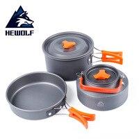 Hewolf HW-K1692 костюм из трех предметов для 2-3 человек на открытом воздухе кемпинг портативная кухонная посуда наборы сковорода 1.1л чайник 2.0л гор...