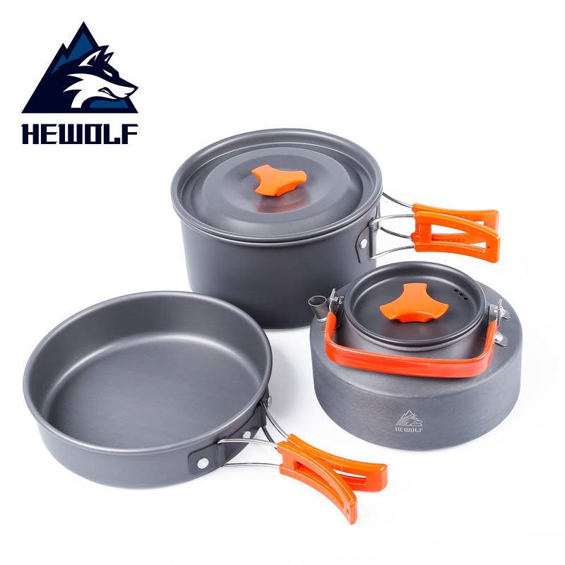 Hewolf HW-K1692 Three-piece Suit 2-3 People Outdoor Camping Portable Cooking Cookware Sets Frying Pan 1.1L Kettle 2.0L Pot