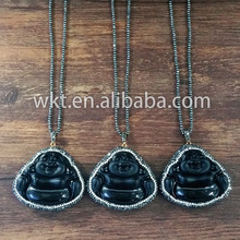 WT-NV029 Natural black obsidian laugh buddha necklace black stone buddha necklace
