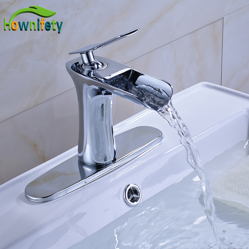 Solid Brass Bathroom Sink Faucet Single Handle Waterfall Spout Mixer Tap with Cover Plate soild brass bathroom sink faucet single handle waterfall spout bathtub mixer tap chrome