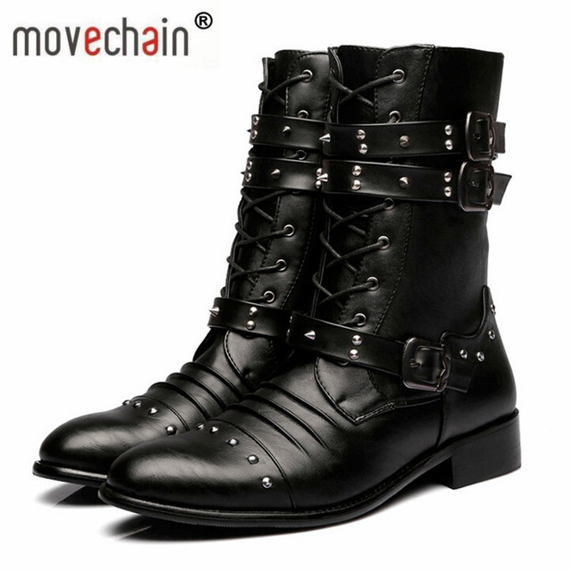 f9dda913c7c192 movechain New Arrive Man Genuine Leather Rivets Punk Boots Mens High-Top  Casual Flats Brand Men s Fashion Martin Boot Shoes