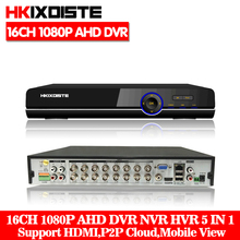 HKIXDISTE Super 16CH AHD DVR HD Full 1080P Video Recorder H.264 CCTV Camera Onvif Network 16 Channel IP NVR Multilanguage
