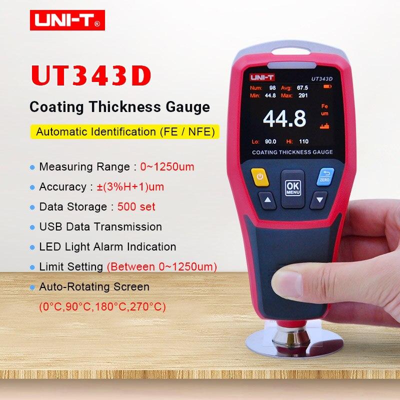 UNI-T ut343d medidor de espessura medidor de revestimento digital carros pintura espessura tester fe/nfe medição com função dados usb