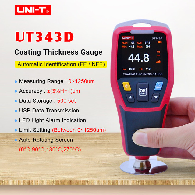 UNI T UT343D עובי מד דיגיטלי ציפוי מד מטר מכוניות בודק עובי צבע FE/NFE מדידה עם USB נתונים פונקציה