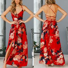 Plus Size Womens Sun Dresses Backless Sexy White Red Black Long Dress Summer Beach Party Clothing
