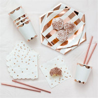 Rose Gold Striped Star Paper Dish Paper Straws Cup Carnival Decorative Disposable Tableware Paper Plates Napkins Party Supplies