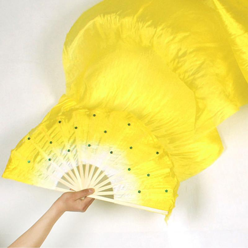 Hand Made Colorful Belly Dance Dancing Silk Bamboo Long Fans Veils(China)