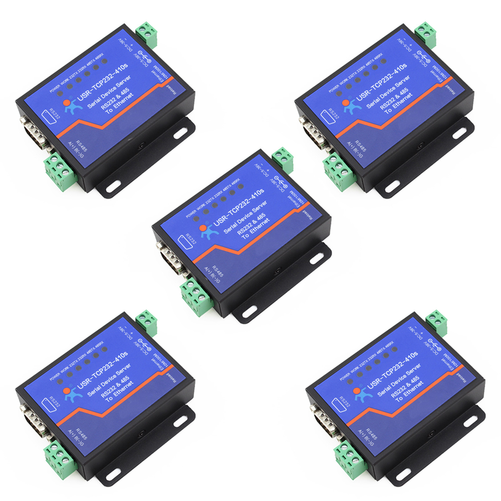 Q18039-5 5PCS USR-TCP232-410S Terminal Power Supply RS232 RS485 to TCP/IP Converter Serial Ethernet Serial Device Server hight quality mini rs 232 to rs 485 passive interface converter 485 converter db9 to 3 wire terminal adapter 1 2km