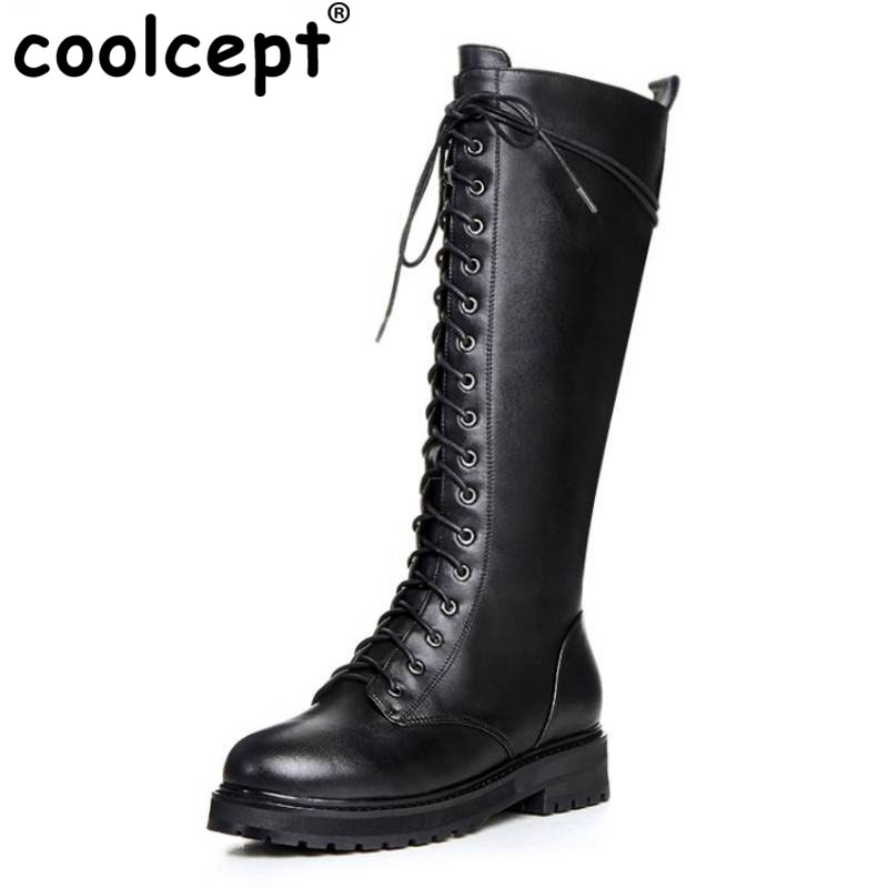 Coolcept Women Genuine Leather Knee Boots Knee Flats Boots Zipper Lace Winter Shoes Warm Long Botas Women Footwears Size 33-40 coolcept women genuine leather flats boot thick fur boots zipper winter shoes half short snow boots women footwears size 34 40