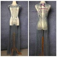 La Belleza 5 шт./компл. серый/серебро 130 см длинные Ручной Работы Стразы Кружева triming большой накладной торжественное платье аксессуары