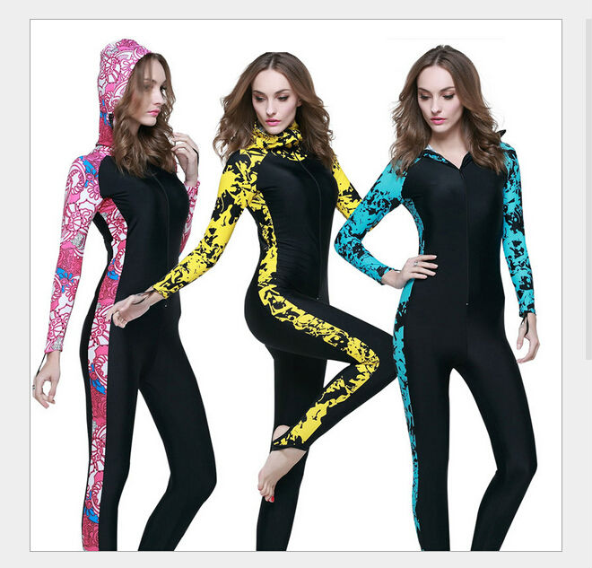 ФОТО High Quality ! Women full body diving suit Female anti-uv One-Piece swimming wetsuit warm snorkeling clothing girls