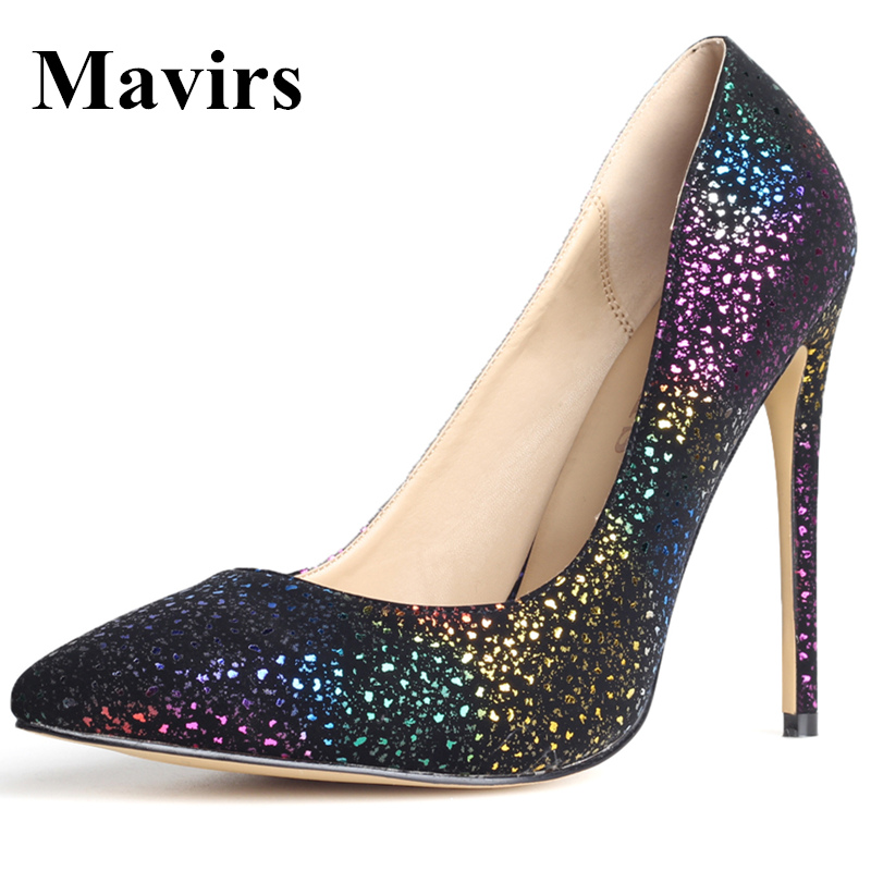 Mavirs 2017 Spring Pointed Toe Gradient Large Size High Heels Women Pumps Stiletto Shoes Pink Black мясорубка ручная irit irh 691