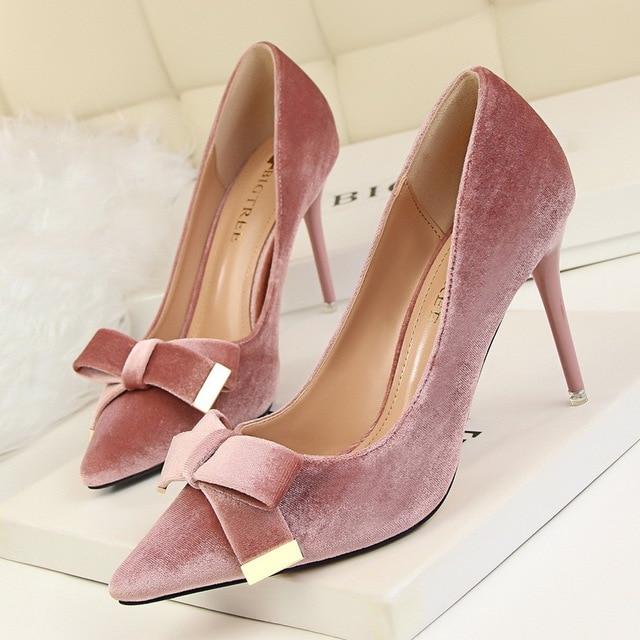 New Europe Fashion Pointed Toe Women High-heeled Shoes Satin Square BowThin Heel Sexy Wedding Nightclubs Women Pump SMYDS-B0179