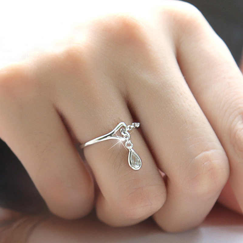 Silver Ring for Women Wedding Zircon Pendant  925 Adjustable Rings Fashion Jewelry  Wholesale