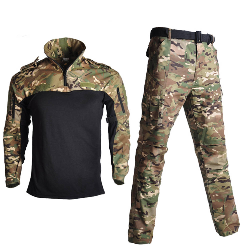 Army Military Uniform BDU Camouflage Breathable Combat Suit Airsoft War Game Clothes Set Quick Drying Shirts + Tactical Pants image