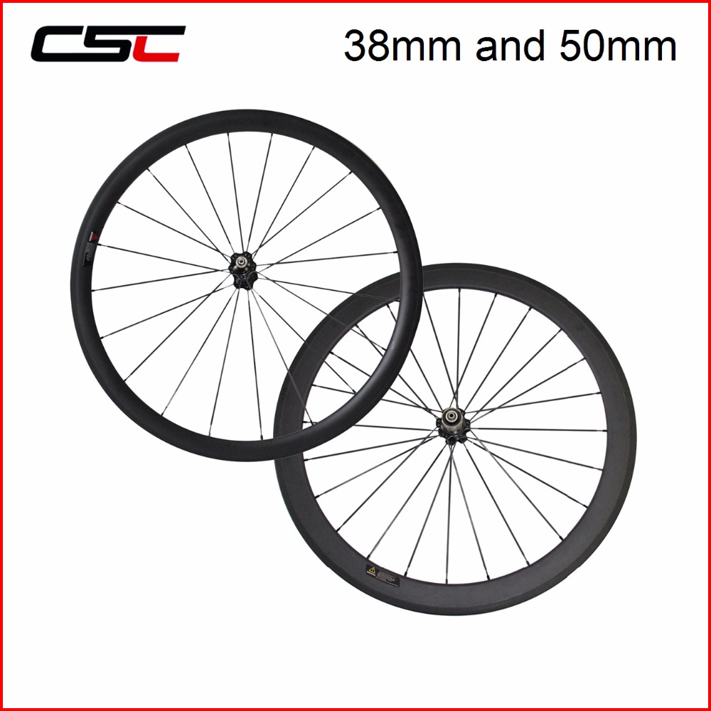 CSC Chinese Carbon Wheelset 700C Front 24385060mm Rear 38506088mm Tubular And Clincher 25mm Width A271SBF372SB Hub