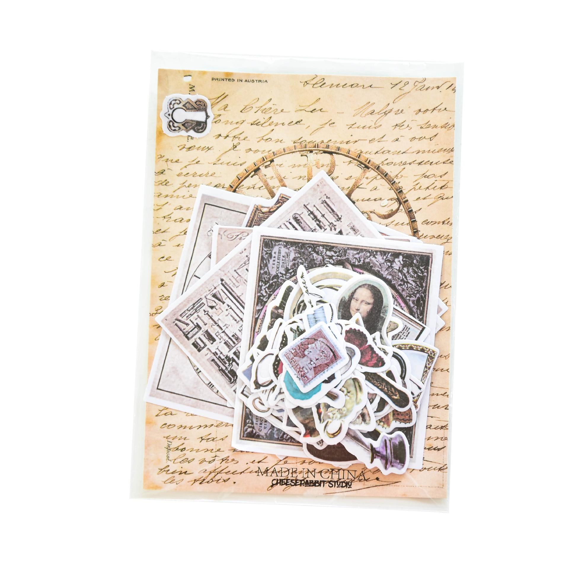 Купить с кэшбэком Black And White Retro Diary Stickers Washi Paper Retro European Style Stickers Pack Medieval Scrapbook Stickers