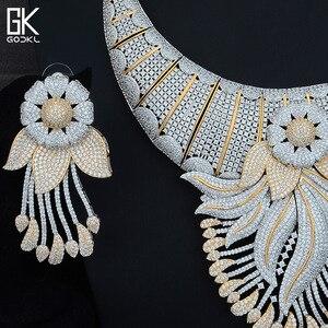 Image 2 - Godki 高級タッセルフラワーキュービックジルコン cz ナイジェリアジュエリー女性の結婚式インドビーズジュエリーセット 2018