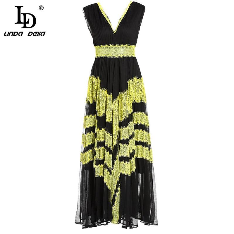 LD LINDA DELLA Fashion Runway Maxi Long Dress Women s Sleeveless Silk Lace Patchwork Sexy Deep