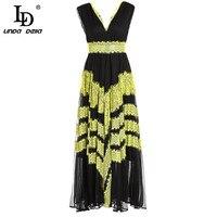 LD LINDA DELLA Fashion Runway Maxi Long Dress Women's Sleeveless Silk Lace Patchwork Sexy Deep V Neck Dress Formal Party Dresses