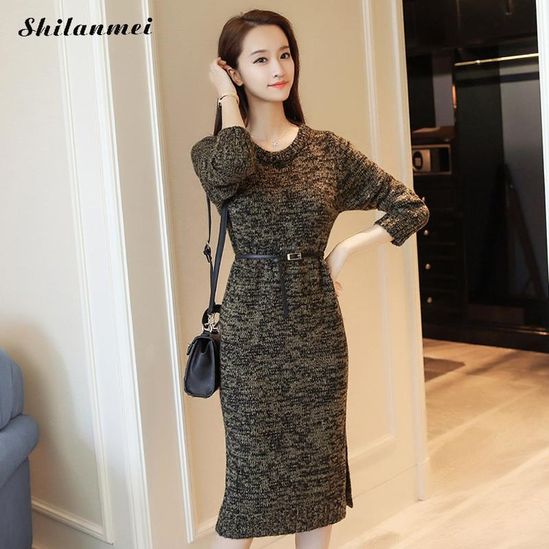 2017 Fashion Women Warm Knitted Sweater Dress Autumn Winter long sleeve Female side slit causal dress knitwear plus size XL-3XL